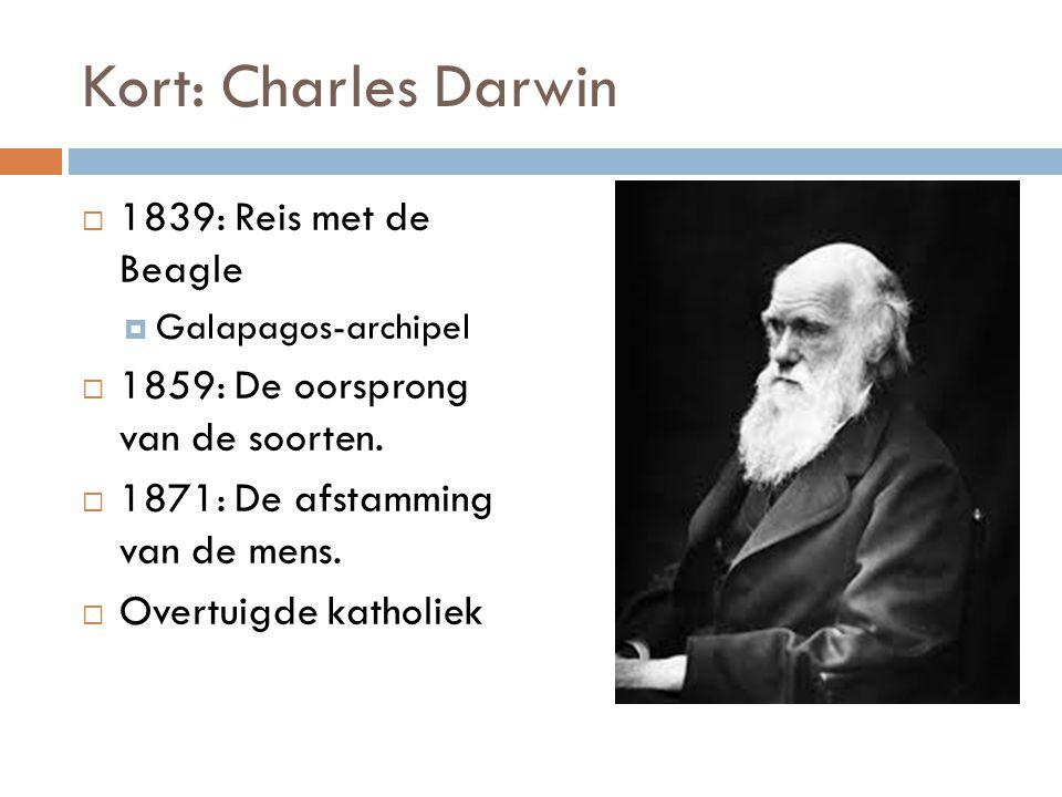 Kort: Charles Darwin  1839: Reis met de Beagle  Galapagos-archipel  1859: De oorsprong van de soorten.  1871: De afstamming van de mens.  Overtui