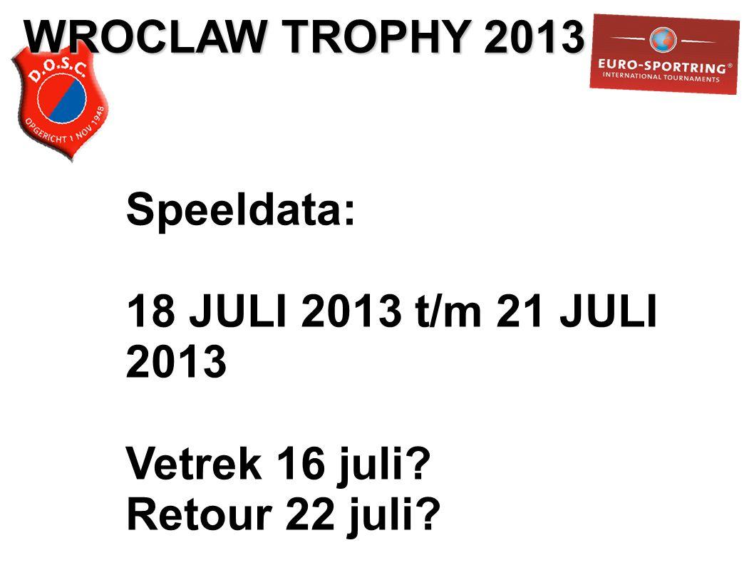 Speeldata: 18 JULI 2013 t/m 21 JULI 2013 Vetrek 16 juli Retour 22 juli
