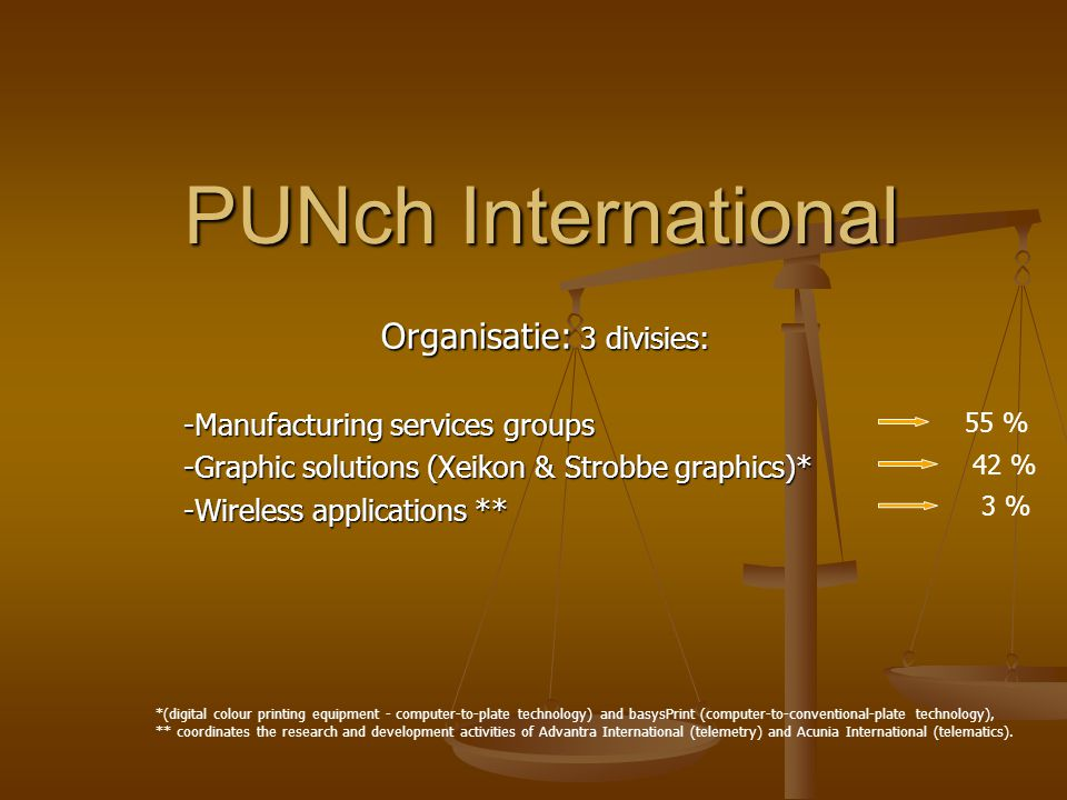 PUNCH International PUNCH International Manufacturing: subcontracting and equipment production and engineering activities for the automotive, consumer electronics, agro-food and display industries worldwide Graphic solutions (march 2005) high-end digital colour printing systems, related software and consumables high quality prepress equipment and related software for offset printing in the commercial and newspaper sectors.