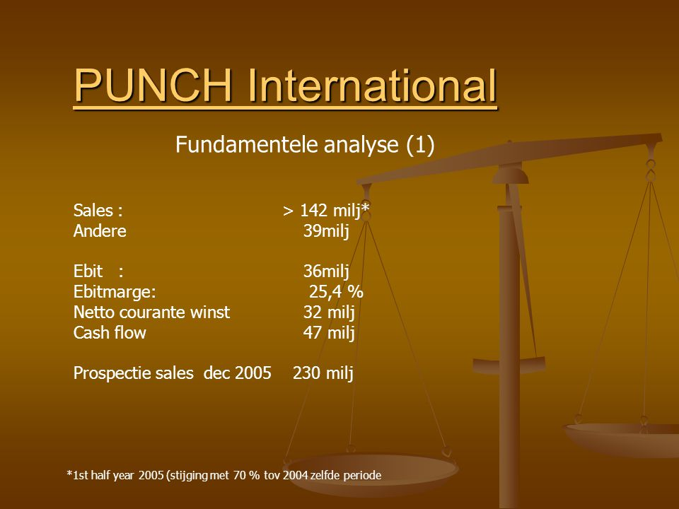 PUNCH International PUNCH International Sales : > 142 milj* Andere 39milj Ebit : 36milj Ebitmarge: 25,4 % Netto courante winst 32 milj Cash flow 47 milj Prospectie sales dec 2005 230 milj *1st half year 2005 (stijging met 70 % tov 2004 zelfde periode Fundamentele analyse (1)