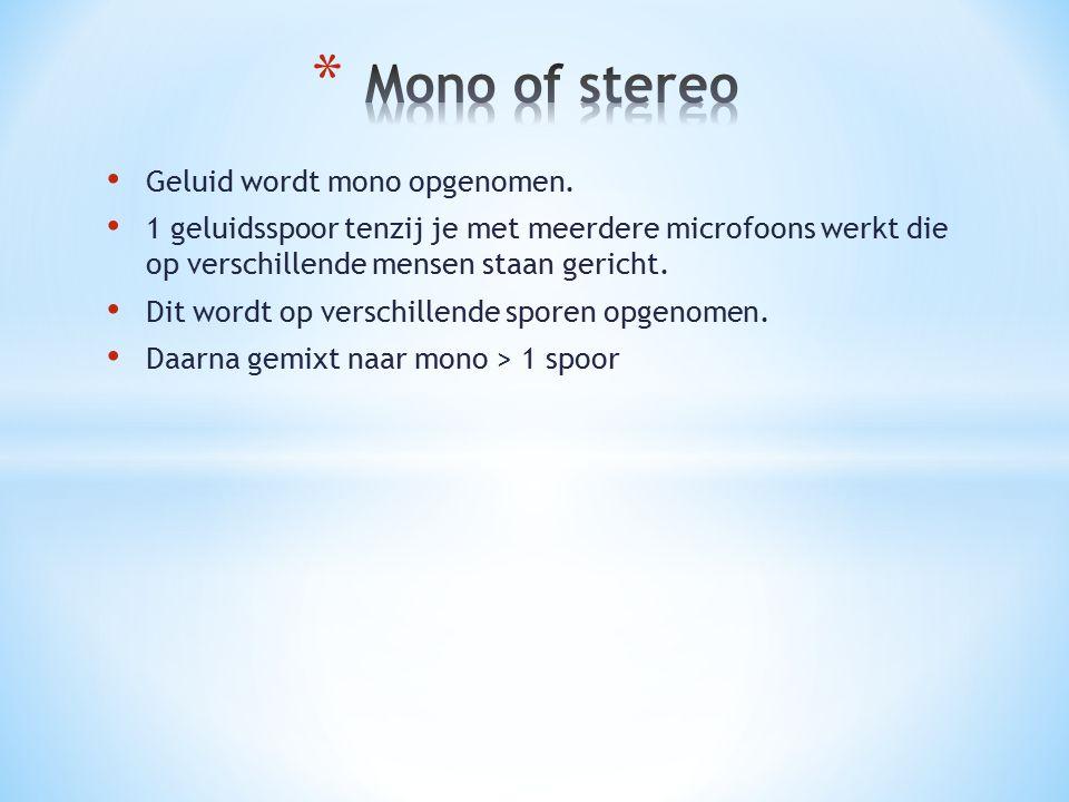 Geluid wordt mono opgenomen. 1 geluidsspoor tenzij je met meerdere microfoons werkt die op verschillende mensen staan gericht. Dit wordt op verschille