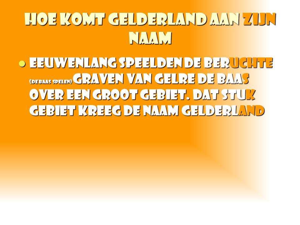 Hoe komt Gelderland aan zijn naam Eeuwenlang speelden de beruchte (de baas spelen) graven van gelre de baas over een groot gebiet. Dat stuk gebiet kre