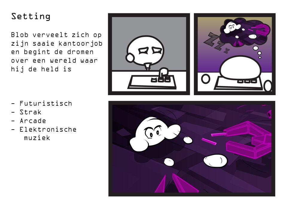 Setting Blob verveelt zich op zijn saaie kantoorjob en begint de dromen over een wereld waar hij de held is - Futuristisch - Strak - Arcade - Elektronische muziek
