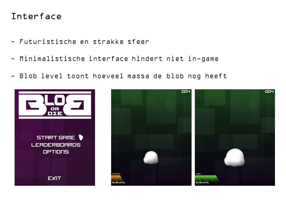 Interface - Futuristische en strakke sfeer - Minimalistische interface hindert niet in-game - Blob level toont hoeveel massa de blob nog heeft