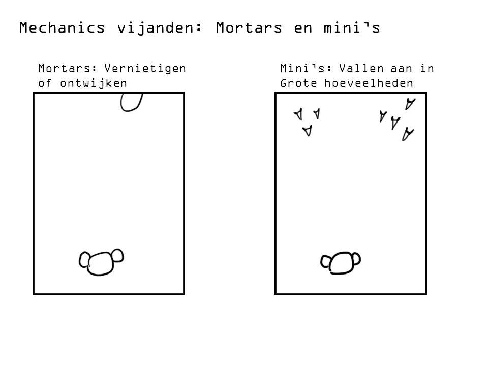 Mechanics vijanden: Mortars en mini's Mortars: Vernietigen of ontwijken Mini's: Vallen aan in Grote hoeveelheden