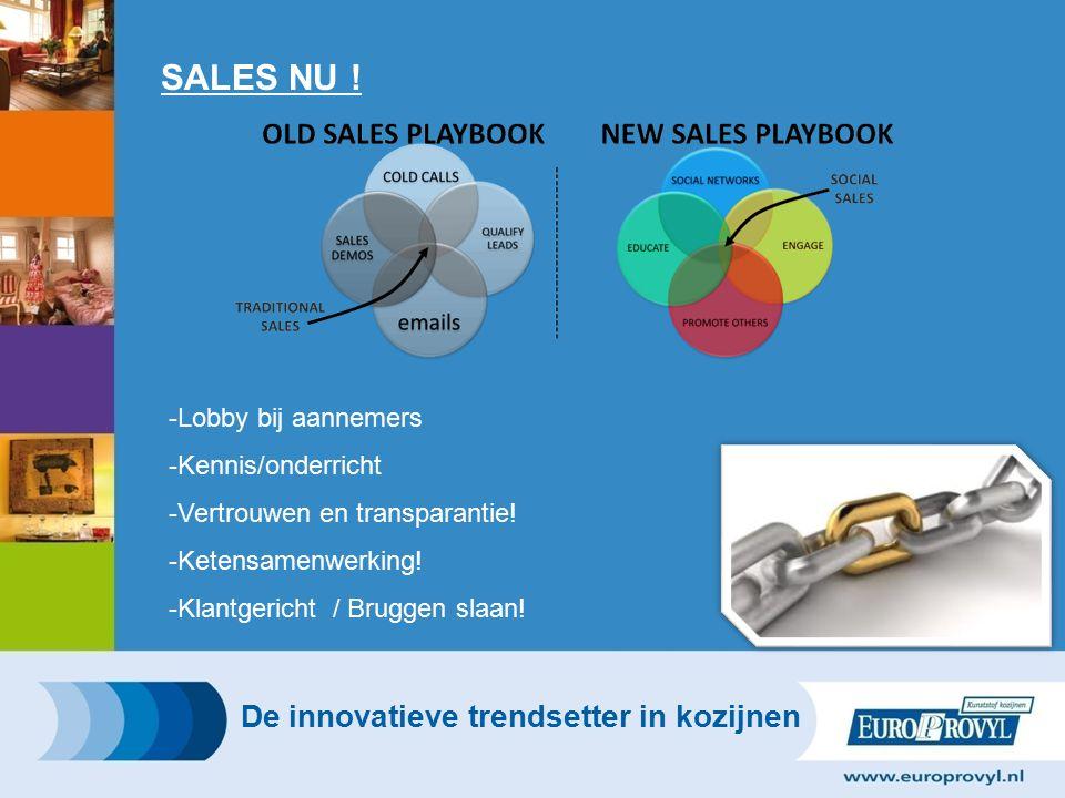 SALES NU .-Lobby bij aannemers -Kennis/onderricht -Vertrouwen en transparantie.