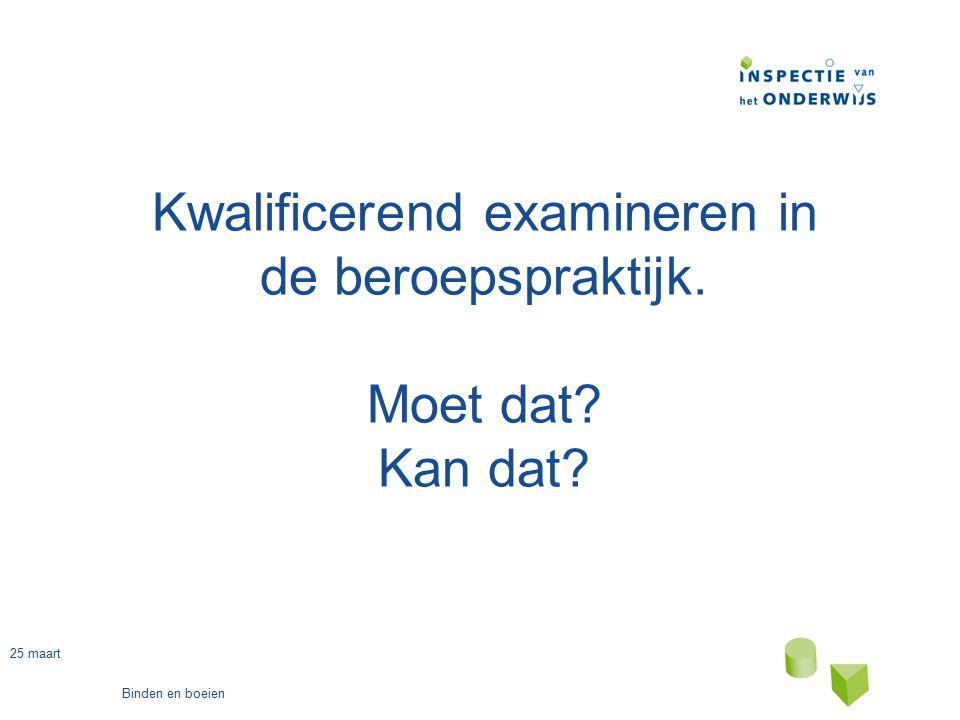 25 maart Binden en boeien Vanuit de WEB: 7.2.8 lid1 Van elke beroepsopleiding maakt onderricht in de praktijk van het beroep deel uit.