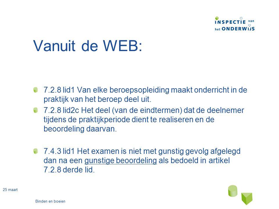 25 maart Binden en boeien Vanuit de WEB: 7.2.8 lid1 Van elke beroepsopleiding maakt onderricht in de praktijk van het beroep deel uit. 7.2.8 lid2c Het