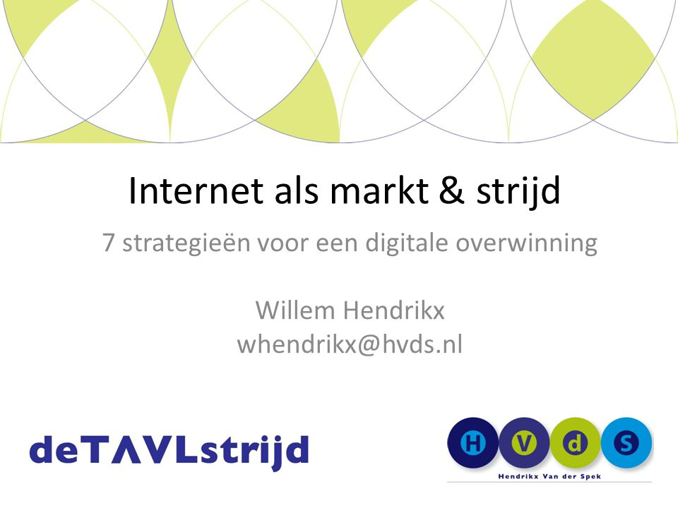 7 strategieën voor een digitale overwinning Willem Hendrikx whendrikx@hvds.nl Internet als markt & strijd