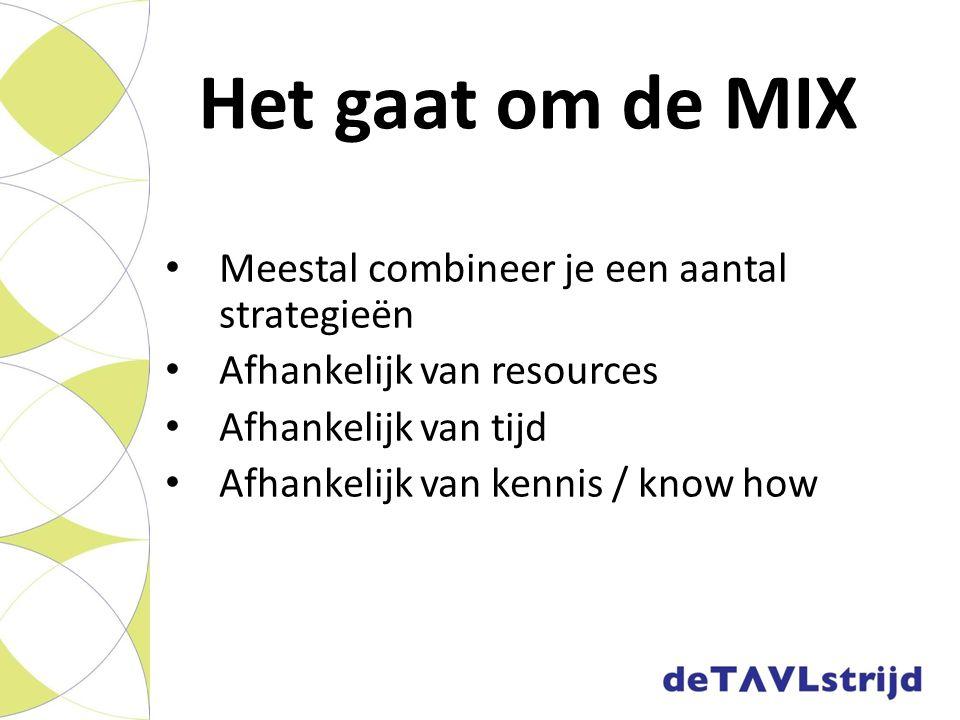 Het gaat om de MIX Meestal combineer je een aantal strategieën Afhankelijk van resources Afhankelijk van tijd Afhankelijk van kennis / know how