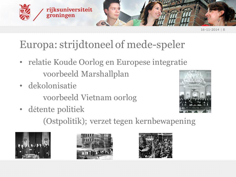 Europa: strijdtoneel of mede-speler relatie Koude Oorlog en Europese integratie voorbeeld Marshallplan dekolonisatie voorbeeld Vietnam oorlog d é tent