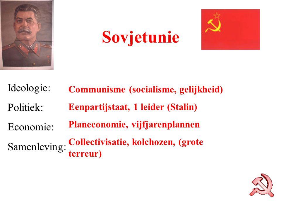 Sovjetunie Ideologie: Politiek: Economie: Samenleving: Communisme (socialisme, gelijkheid) Eenpartijstaat, 1 leider (Stalin) Planeconomie, vijfjarenpl