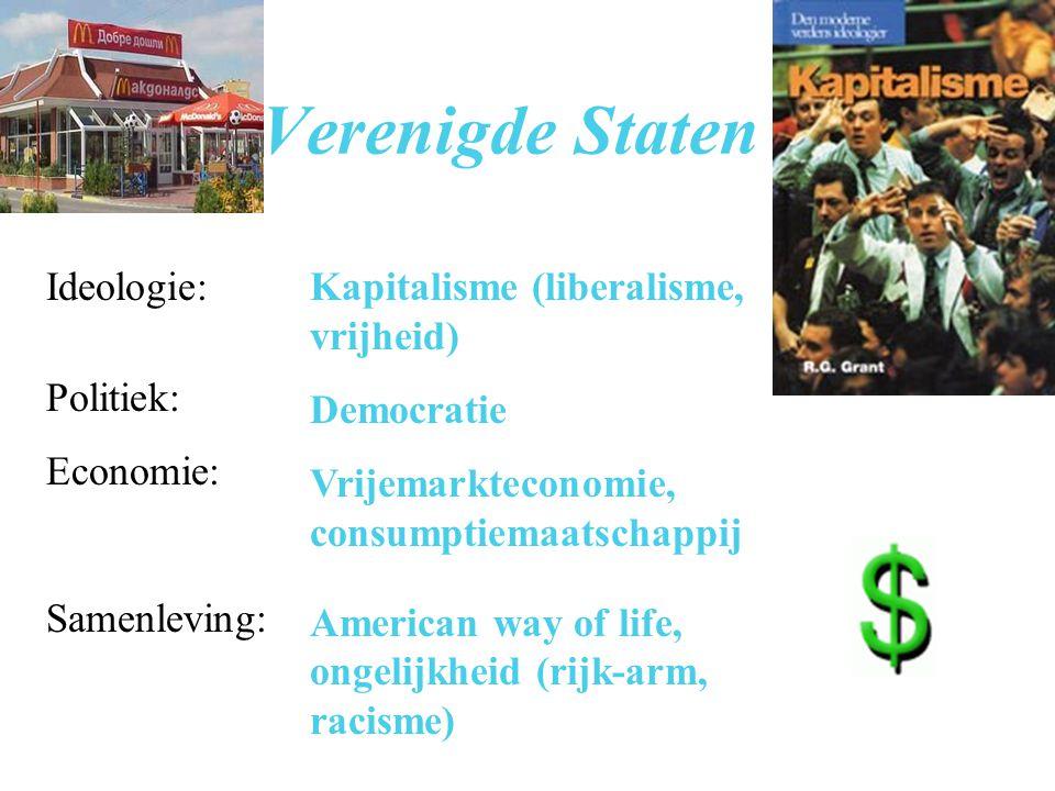 Verenigde Staten Ideologie: Politiek: Economie: Samenleving: Kapitalisme (liberalisme, vrijheid) Democratie Vrijemarkteconomie, consumptiemaatschappij