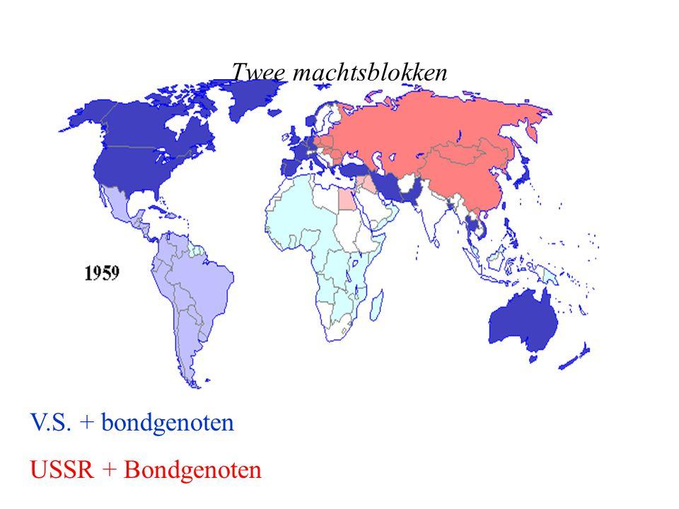 Twee machtsblokken V.S. + bondgenoten USSR + Bondgenoten