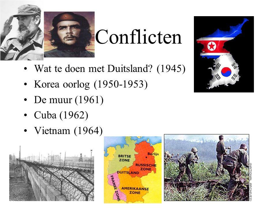 Conflicten Wat te doen met Duitsland? (1945) Korea oorlog (1950-1953) De muur (1961) Cuba (1962) Vietnam (1964)