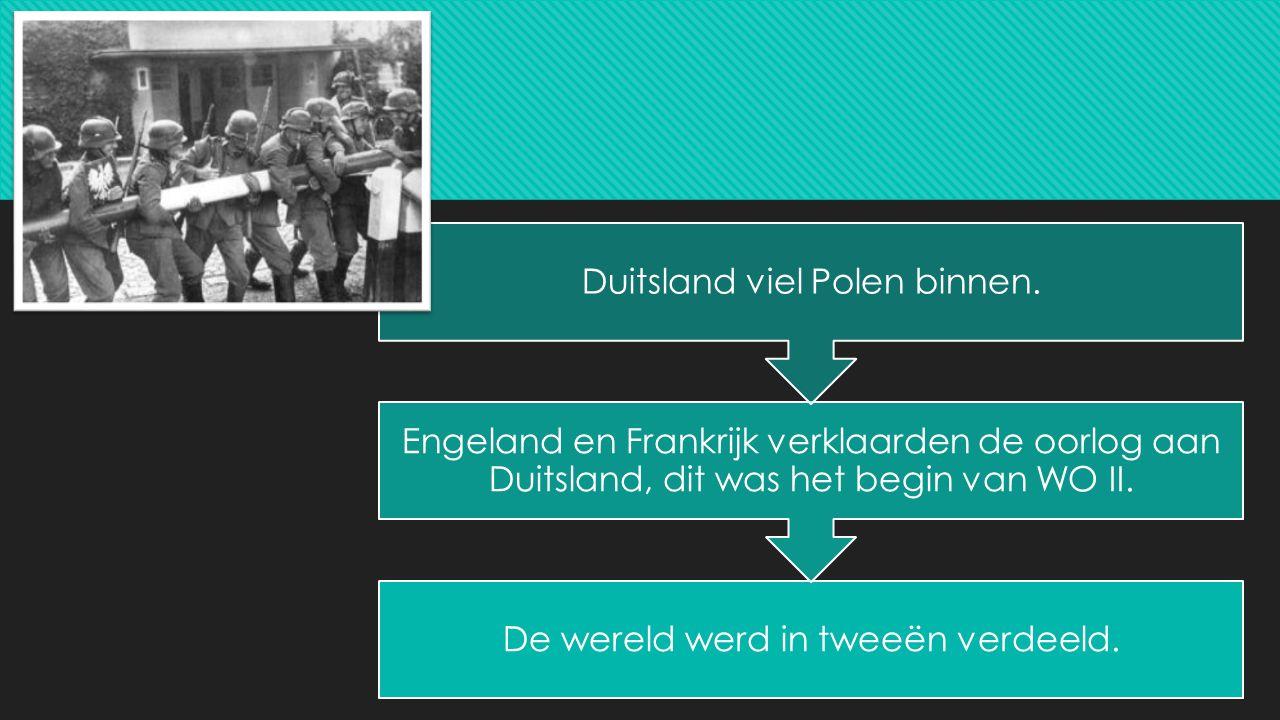 De wereld werd in tweeën verdeeld. Engeland en Frankrijk verklaarden de oorlog aan Duitsland, dit was het begin van WO II. Duitsland viel Polen binnen