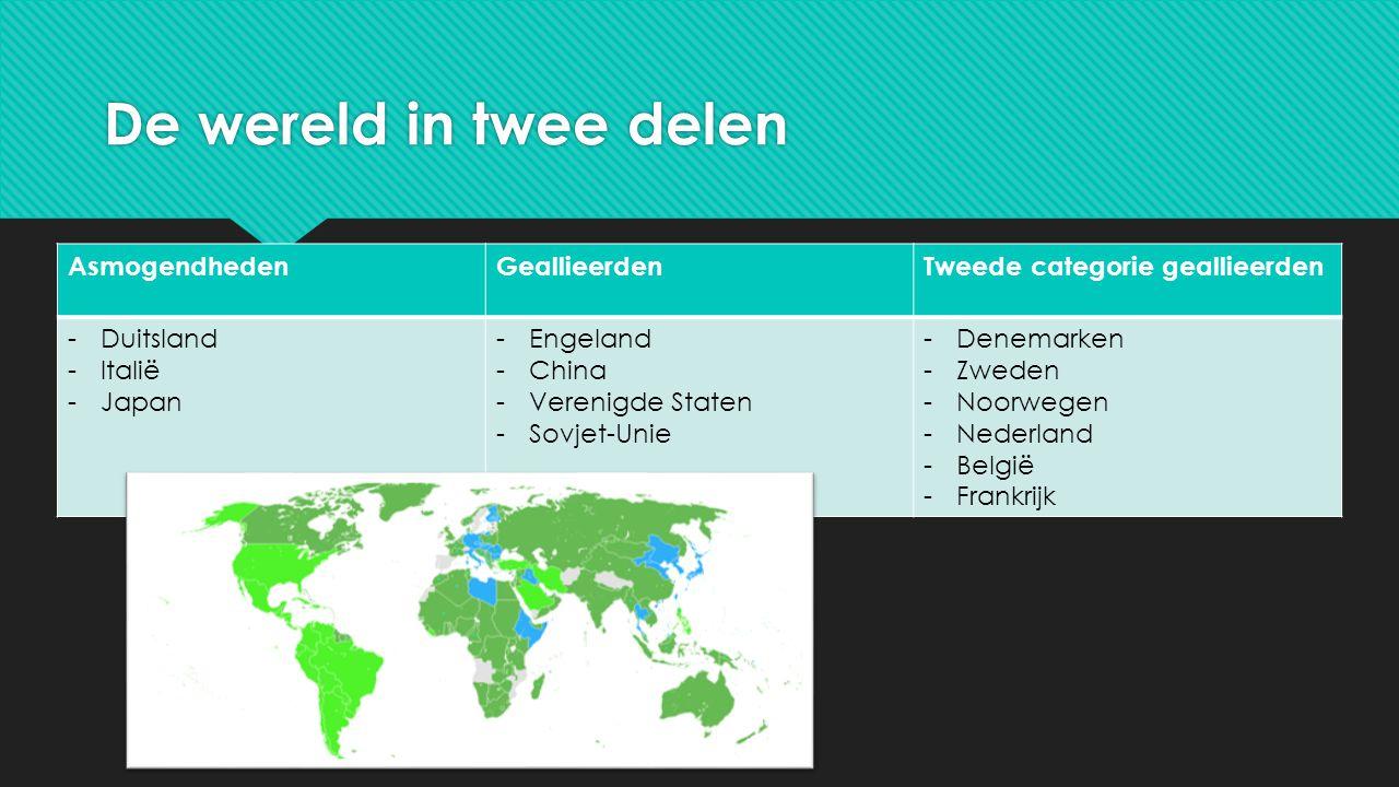 De wereld in twee delen AsmogendhedenGeallieerdenTweede categorie geallieerden -Duitsland -Italië -Japan -Engeland -China -Verenigde Staten -Sovjet-Un