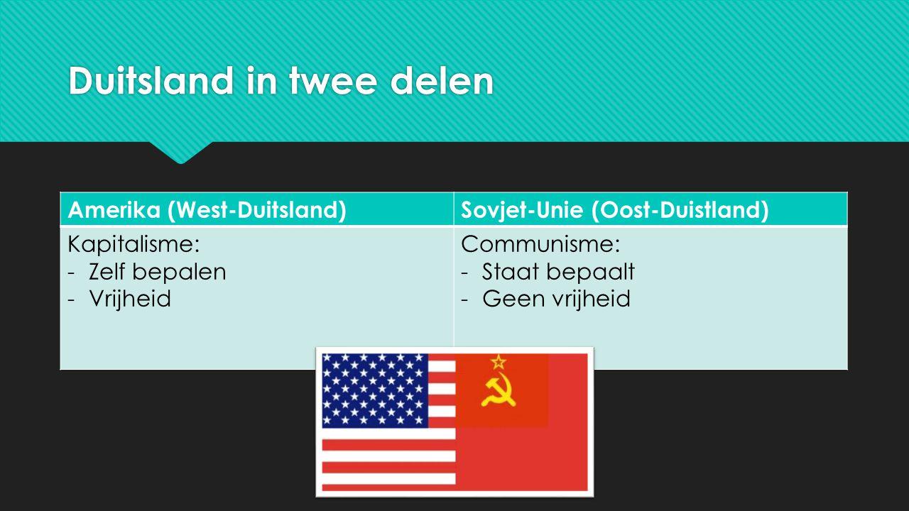 Duitsland in twee delen Amerika (West-Duitsland)Sovjet-Unie (Oost-Duistland) Kapitalisme: -Zelf bepalen -Vrijheid Communisme: -Staat bepaalt -Geen vri