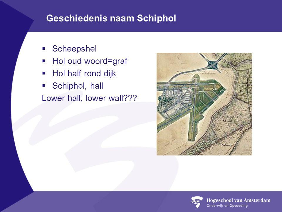 Geschiedenis naam Schiphol  Scheepshel  Hol oud woord=graf  Hol half rond dijk  Schiphol, hall Lower hall, lower wall???
