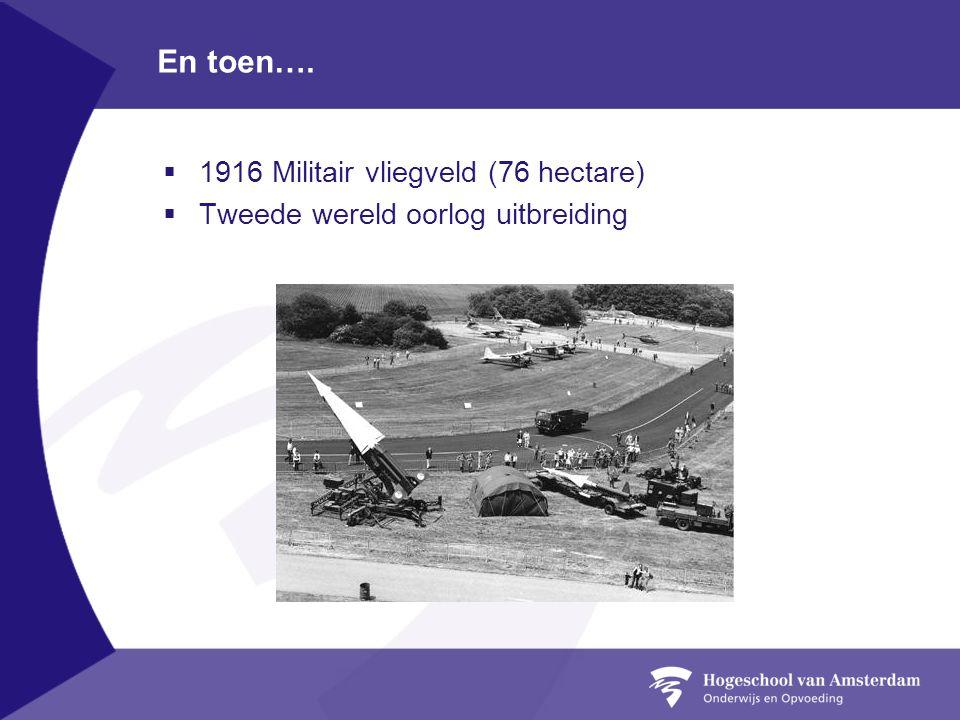 En toen….  1916 Militair vliegveld (76 hectare)  Tweede wereld oorlog uitbreiding