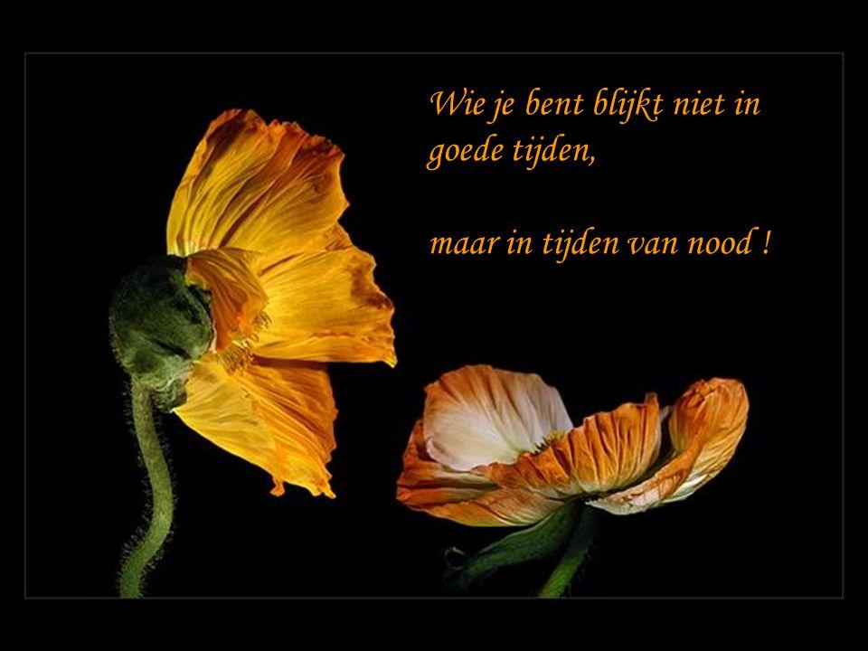Wie je bent blijkt niet in goede tijden, maar in tijden van nood !