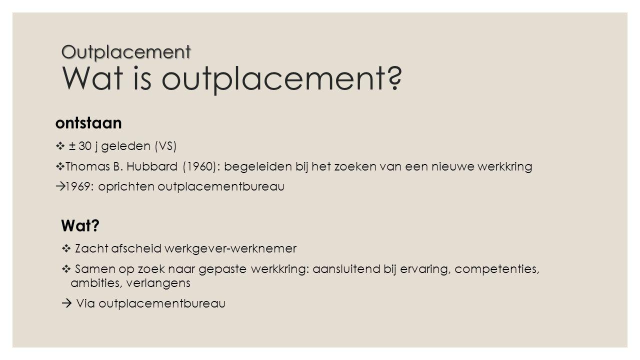 Outplacement Outplacement Wat is outplacement.ontstaan  ± 30 j geleden (VS)  Thomas B.