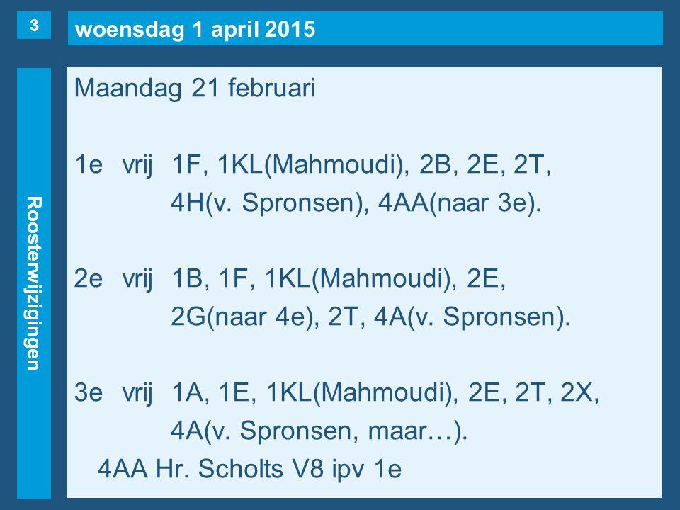 woensdag 1 april 2015 Roosterwijzigingen Maandag 21 februari 1evrij1F, 1KL(Mahmoudi), 2B, 2E, 2T, 4H(v.