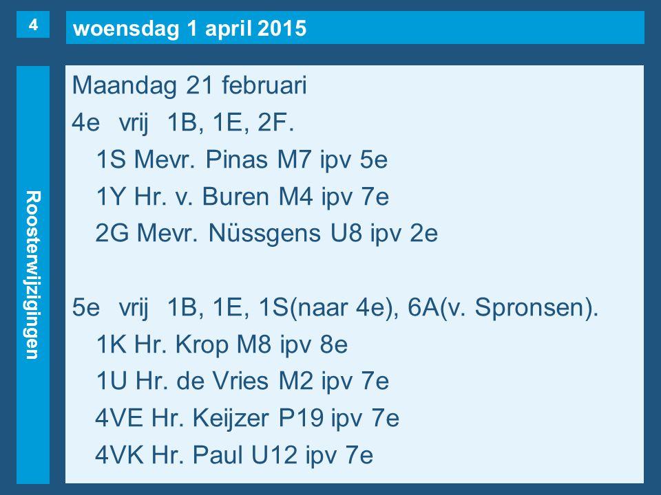 woensdag 1 april 2015 Roosterwijzigingen Maandag 21 februari 4evrij1B, 1E, 2F.