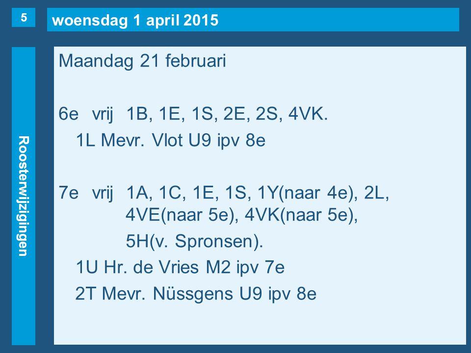 woensdag 1 april 2015 Roosterwijzigingen Maandag 21 februari 6evrij1B, 1E, 1S, 2E, 2S, 4VK.