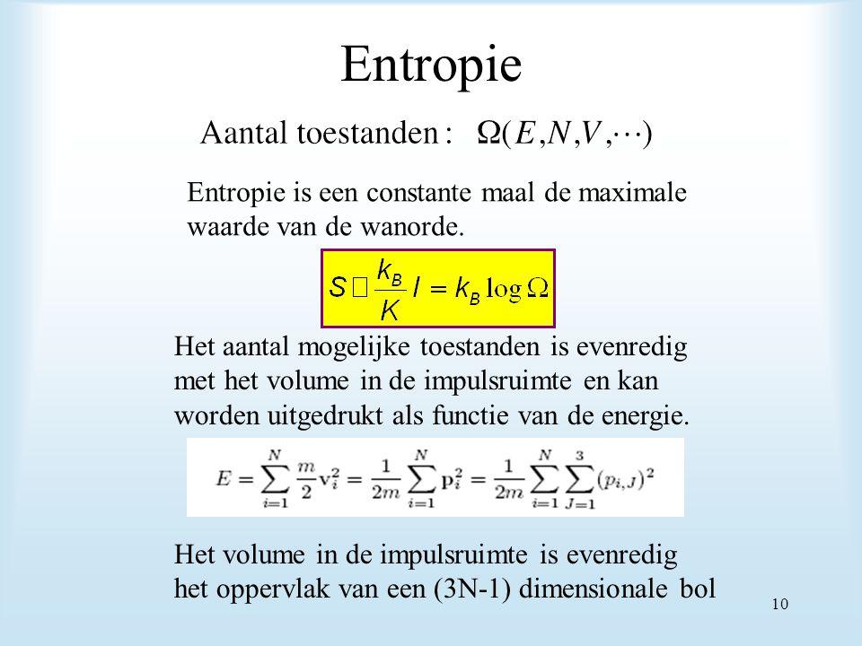 Entropie Entropie is een constante maal de maximale waarde van de wanorde. Het aantal mogelijke toestanden is evenredig met het volume in de impulsrui