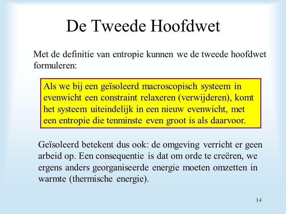 De Tweede Hoofdwet Met de definitie van entropie kunnen we de tweede hoofdwet formuleren: Als we bij een geïsoleerd macroscopisch systeem in evenwicht