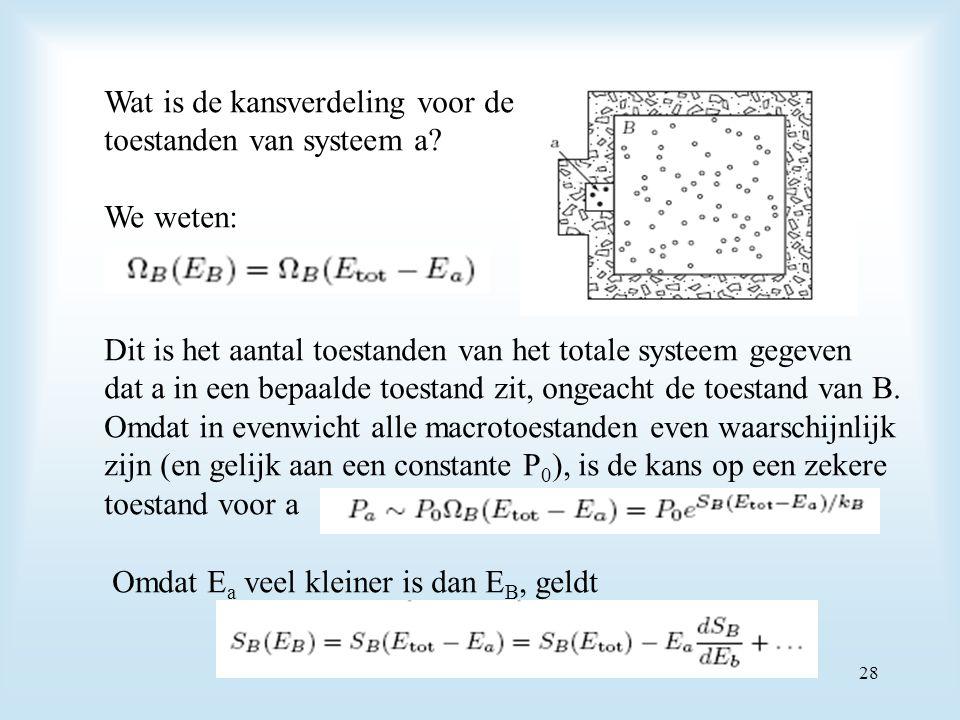 Wat is de kansverdeling voor de toestanden van systeem a? We weten: Dit is het aantal toestanden van het totale systeem gegeven dat a in een bepaalde