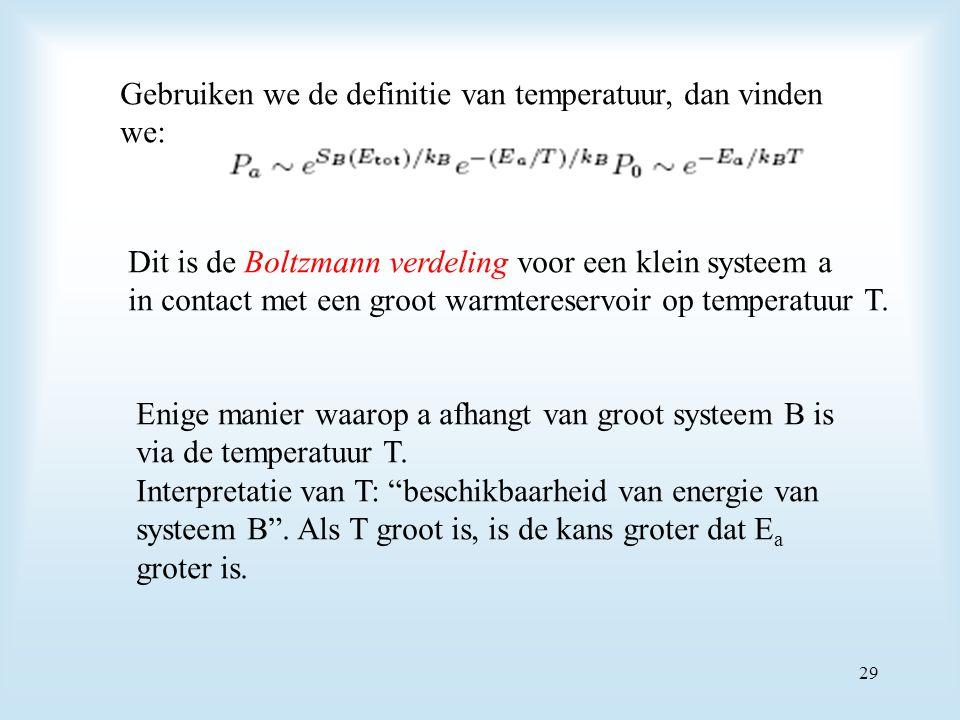 Gebruiken we de definitie van temperatuur, dan vinden we: Dit is de Boltzmann verdeling voor een klein systeem a in contact met een groot warmtereservoir op temperatuur T.
