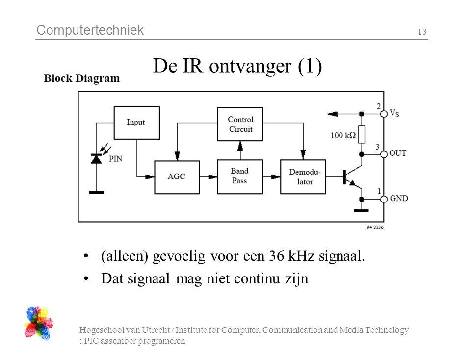 Computertechniek Hogeschool van Utrecht / Institute for Computer, Communication and Media Technology ; PIC assember programeren 13 De IR ontvanger (1) (alleen) gevoelig voor een 36 kHz signaal.