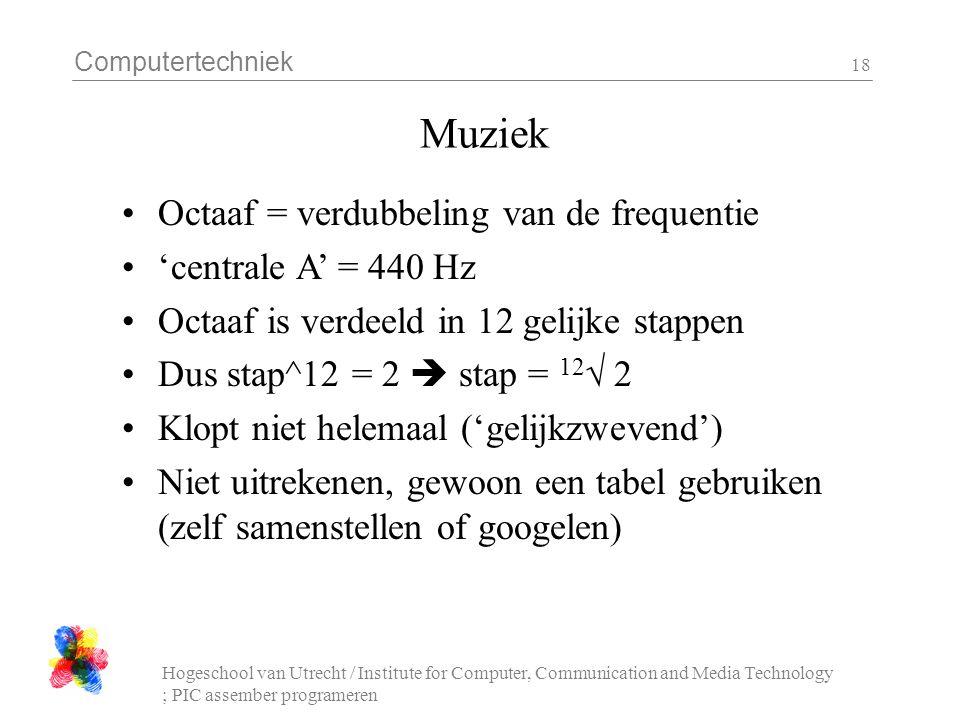 Computertechniek Hogeschool van Utrecht / Institute for Computer, Communication and Media Technology ; PIC assember programeren 18 Muziek Octaaf = verdubbeling van de frequentie 'centrale A' = 440 Hz Octaaf is verdeeld in 12 gelijke stappen Dus stap^12 = 2  stap = 12 √ 2 Klopt niet helemaal ('gelijkzwevend') Niet uitrekenen, gewoon een tabel gebruiken (zelf samenstellen of googelen)