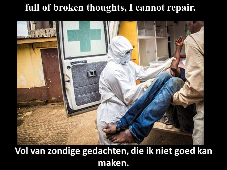 full of broken thoughts, I cannot repair. Vol van zondige gedachten, die ik niet goed kan maken.