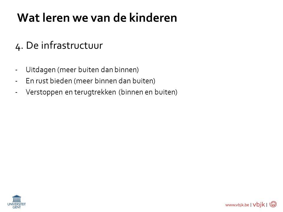 Wat leren we van de kinderen 4. De infrastructuur -Uitdagen (meer buiten dan binnen) -En rust bieden (meer binnen dan buiten) -Verstoppen en terugtrek