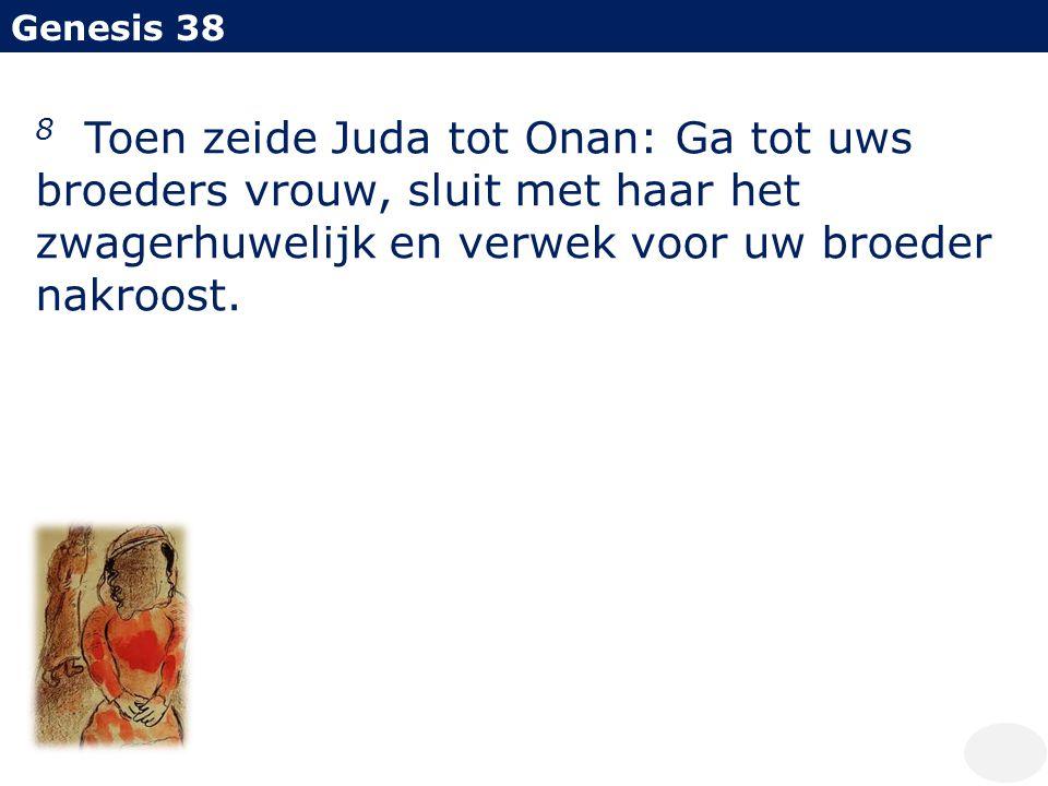 Genesis 38 8 Toen zeide Juda tot Onan: Ga tot uws broeders vrouw, sluit met haar het zwagerhuwelijk en verwek voor uw broeder nakroost.