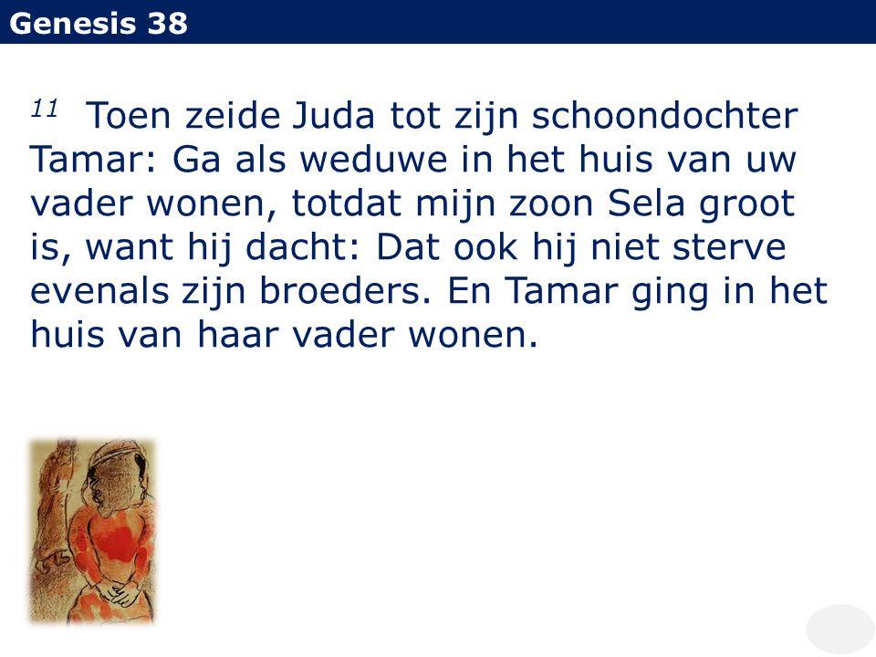 Genesis 38 11 Toen zeide Juda tot zijn schoondochter Tamar: Ga als weduwe in het huis van uw vader wonen, totdat mijn zoon Sela groot is, want hij dac