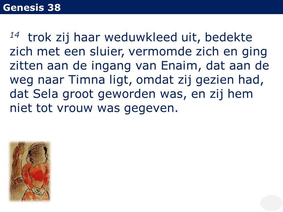 Genesis 38 14 trok zij haar weduwkleed uit, bedekte zich met een sluier, vermomde zich en ging zitten aan de ingang van Enaim, dat aan de weg naar Tim