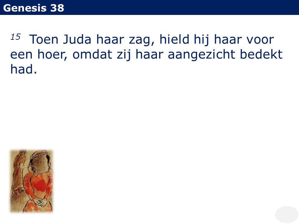 Genesis 38 15 Toen Juda haar zag, hield hij haar voor een hoer, omdat zij haar aangezicht bedekt had.