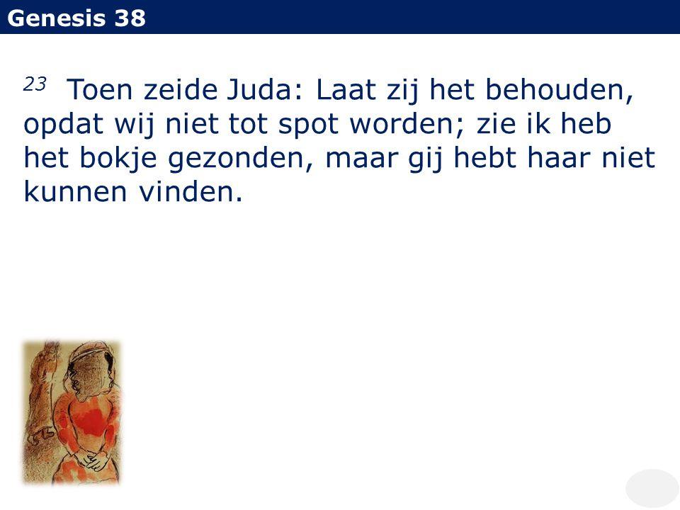 Genesis 38 23 Toen zeide Juda: Laat zij het behouden, opdat wij niet tot spot worden; zie ik heb het bokje gezonden, maar gij hebt haar niet kunnen vi