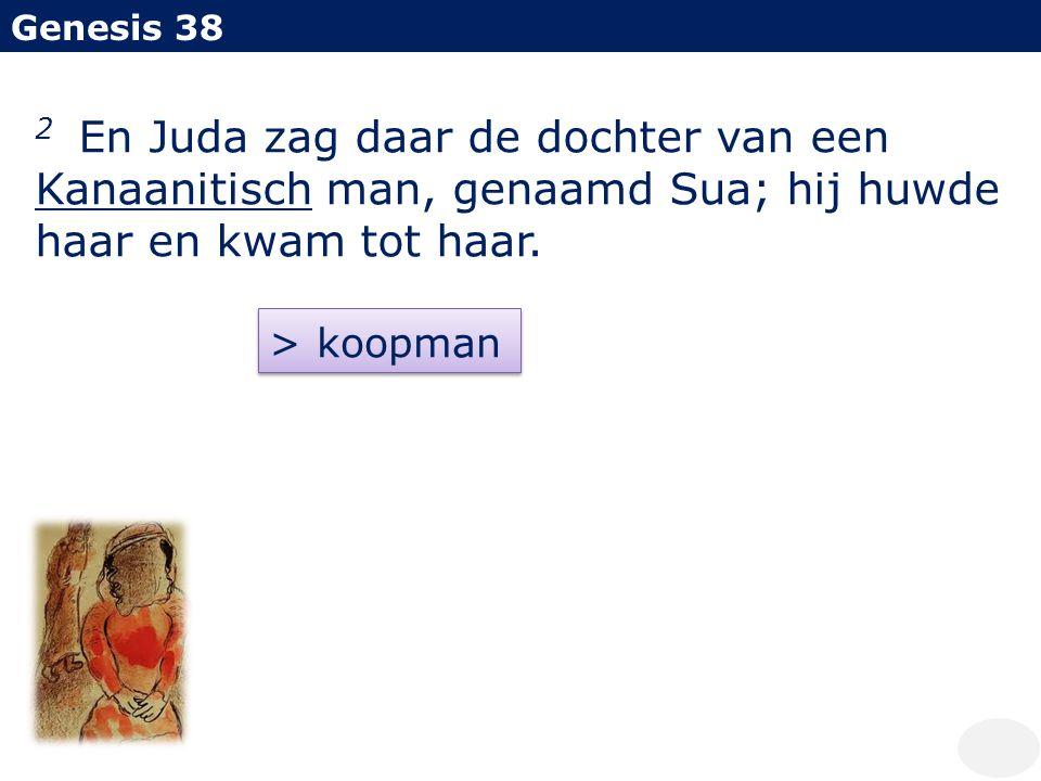 Genesis 38 2 En Juda zag daar de dochter van een Kanaanitisch man, genaamd Sua; hij huwde haar en kwam tot haar. > koopman