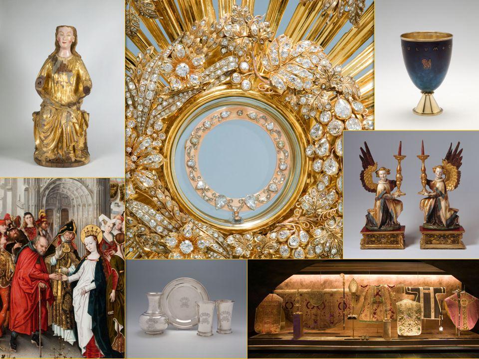 heiligenbeeld flambouw wandarm baldakijn godslamp kandelaar kruisbeeld consolezijaltaar vaandel lezenaar communiebank orgel bidstoel missaal kerkbank glas-in-loodraam sedilia altaar