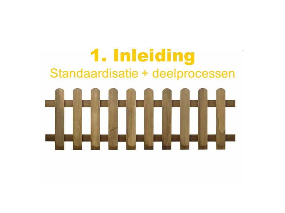 Standaardisatie + deelprocessen 1. Inleiding