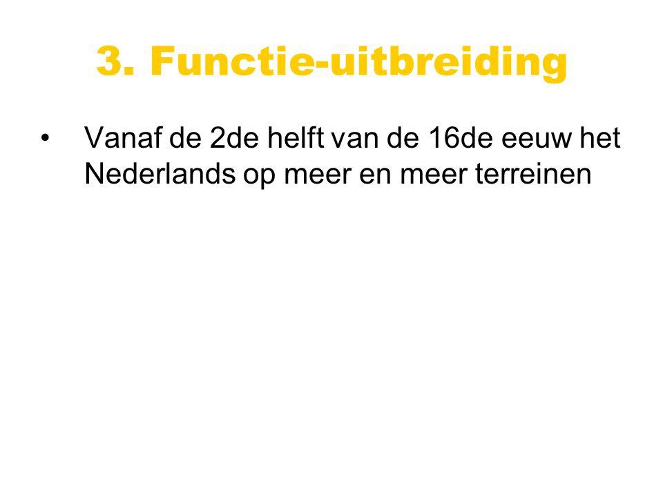 Vanaf de 2de helft van de 16de eeuw het Nederlands op meer en meer terreinen