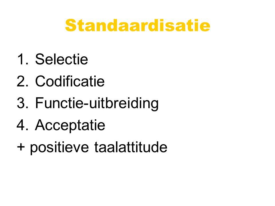 Standaardisatie 1.Selectie 2.Codificatie 3.Functie-uitbreiding 4.Acceptatie + positieve taalattitude