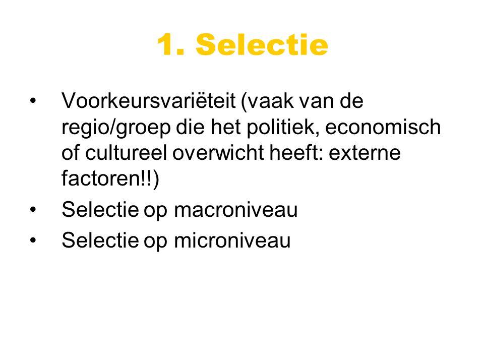 Voorkeursvariëteit (vaak van de regio/groep die het politiek, economisch of cultureel overwicht heeft: externe factoren!!) Selectie op macroniveau Selectie op microniveau