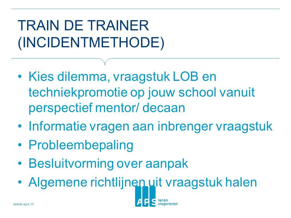 TRAIN DE TRAINER (INCIDENTMETHODE) Kies dilemma, vraagstuk LOB en techniekpromotie op jouw school vanuit perspectief mentor/ decaan Informatie vragen