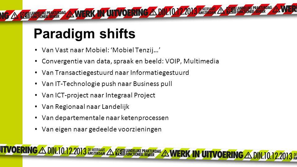 4 Paradigm shifts Van Vast naar Mobiel: 'Mobiel Tenzij…' Convergentie van data, spraak en beeld: VOIP, Multimedia Van Transactiegestuurd naar Informat